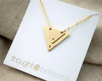 Double Triangle Necklace - Silver or Gold - Personalize - Geometric