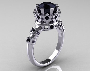 Modern Vintage 10K White Gold 1.5 Carat Black Diamond Classic Armenian Wedding Ring AR105-10KWGBDD