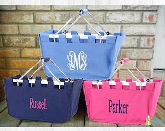 Monogrammed Market Basket, Personalized Market Tote, Fold Up Basket, Collapsible Basket, Storage Basket, Monogram Market, Large Basket