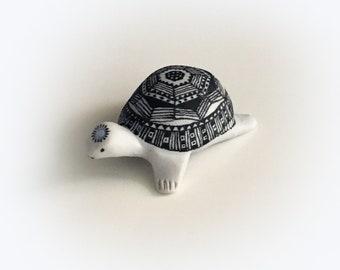 Turtle polymer clay animal totem, figurine, talisman with swarovski crystal