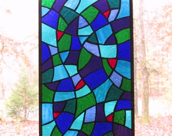 """Stained Glass Rectangle Panel, Multicolored Abstract with Red Accents- 10 1/4"""" x 16 1/4"""" inches"""