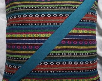 Series Mexico City 7: cushion, 40x40cm (16 x 16), striped cotton Mexican motifs, multicoloured, blue-green cotton.