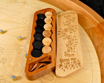 "Crokinole Counter w/Standard 1-1/4"" wooden biscuits B/N + scoring pegs, Solid Hard Maple Top and Cherry Bottom, Laser Engraved, Paul Szewc"