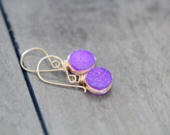 Druzy Gold Earrings , Lavender Dangle Earrings in 14k Gold Filled , Sterling Silver , Rose Gold , Amethyst Purple Druzy - Sugarplum