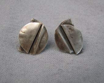 folded and oxidized sterling silver cufflinks