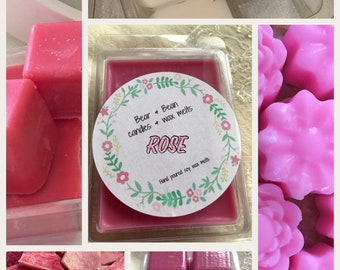 Rose scented soy wax melts , Highly scented , uk , natural wax , Flower scent ,