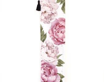 Girls Pink Flower Growth Chart for Girls Handmade Canvas Fabric Peony Keepsake Gift New Baby Girl Nursery Personalised Room Decor kookinuts
