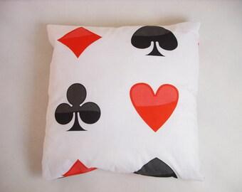 Cards pillow and case card fabric card cushion hearts pillow spades pillow gambler gift gambler decor pillow cushion card cards