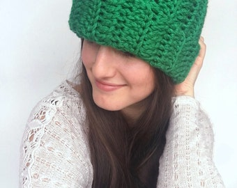 St. Patricks Day Two Way Slouchy Beanie//St. Patricks Day Knit Slouchy Beanie//Green St. Patricks Day Slouchy Brimmed Beanie
