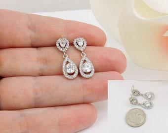 Tiny Cubic Zirconia Teardrop Flower Girl Earrings CZ Junior Bridesmaid Earrings Tiny CZ Earrings Flower Girl Gift Free US Shipping