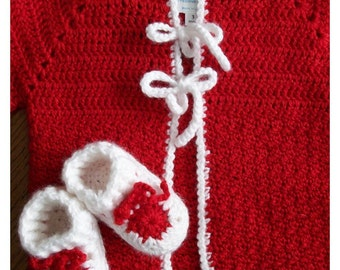 Red Sweater and Bootie Set