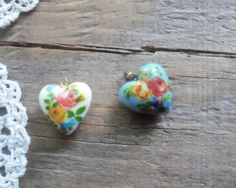 Floral Puffy Heart Charms