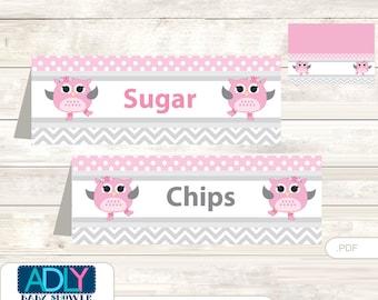 Spring Owl Food Tent Label, Menu Printable Card for Baby Owl Shower, Birthday DIY Grey Pink-aa61bs10