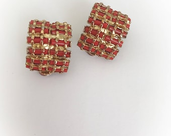 Vintage Orangish Red Rectangles and Gold Tone Metal Earrings Clip On