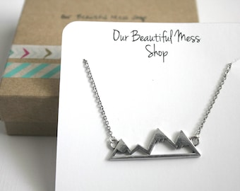 Mountain Necklace / Adventure Necklace /  Silver Mountain Pendant / Nature Necklace / Gifts for Her / Birthday for Her / Christmas Gift