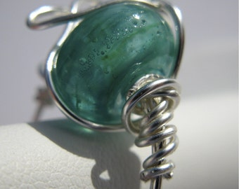 KENYA. Aqua Turquoise Glass and Silver Cocktail Ring in size 7