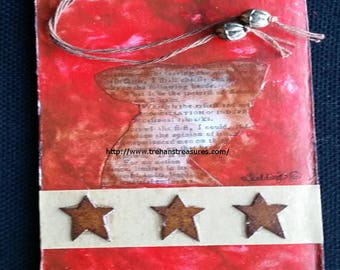 Original Revolutionary War Soldier Patriot Historical Americana Mixed Media Art Tag Bookmark