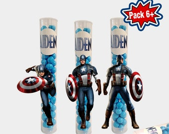 Captain America Party Favors / Favor Boxes / Candy Tubes / Treat Tubes / Candy Container / Captain America Party Supply