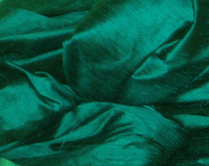 Peacock Teal Green 100% Dupioni Silk Fabric Wholesale Roll/ Bolt