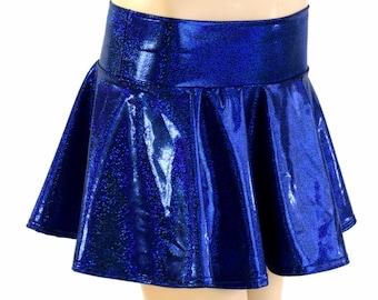 Royal Blue Sparkly Jewel Holographic Metallic Circle Cut Mini Skirt Rave Clubwear EDM - 154159