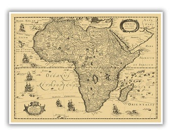 Old map of africa Etsy