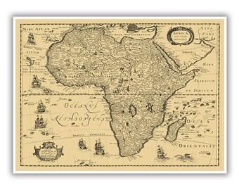 Map Of Africa Circa 1600s, Old African Map, Africae Nova Tabula Art Print, Blueprint Style, 4 Color Options, Blue, Black, Slate Gray, Beige