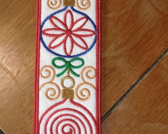 Embroidered Bookmark - Felt - Christmas - Ornaments - Red Outline