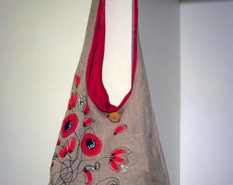 Gray red poppy, feminine summer shoulder bag