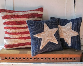 Stars and Stripes Patriotic Hooked Pillow Set