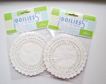 Lace Paper Doilies. Tea party round doilies. Set of 72. 5 inch. Weddings. Quinceanera. Sweet Sixteen. Showers