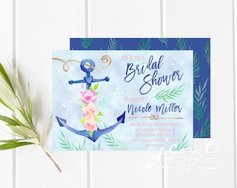 Nautical Invite   Shower Invite   Nautical Shower   Anchor Bridal Shower   Shower Invitation   Bridal Shower Invite   Nautical Invitation