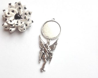 x support metal ring 25 mm, large fairy pendant