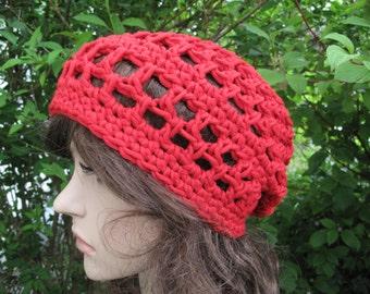 Crochet beret crochet hat red Kerstin