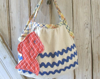 Deep Blue Sea - Girl's Purse PDF Pattern Tutorial  Summer Purse Tote Accessory Easy Sew