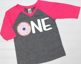 One - Donut - First Birthday - 1st Birthday - Donut Party - Doughnut - Raglan - Baseball Shirt - Girl's First Birthday - Birthday Outfit