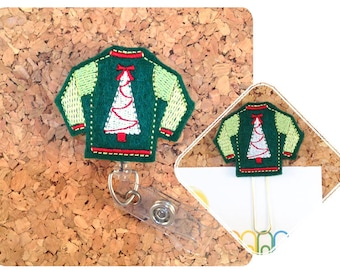 UGLY CHRISTMAS SWEATER Badge Reel, Badge Reel, Lanyard, Planner Clip, Key Ring, Charm, Pin, Paperclip, Magnet, Ornament, Hair Clip, 1039