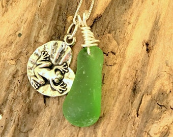 Green Seaglass Necklace, Lake Jewelry, Beach Glass Necklace, Lake Erie Beach Glass Jewelry, Frog Charm Necklace