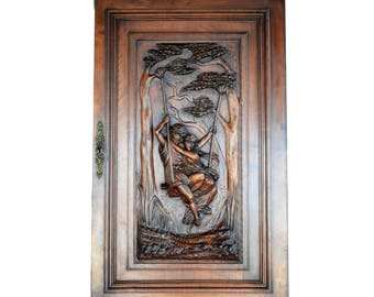 Antique French Large Hand Carved Wood Cabinet Door After Le Printemps Painting of Pierre Auguste Cot - Romantic Couple Swing Wall Panel
