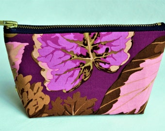 "SALE 50% OFF  7"" Purple leaves cotton gusseted pouch"