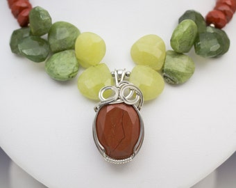 Red Jasper, Serpentine, Idocrase Sterling Silver Wire Wrapped Pendant Necklace
