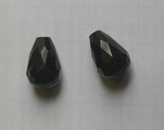NACKLACE WITH 2 BLACK CRYSTAL DROPS BEADS