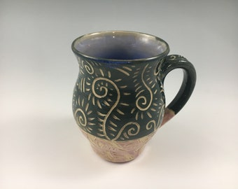 Blue and Purple Pottery Coffee Mug, Stoneware Mug, Tea Cup, Mother's Day Gift, Unique