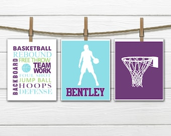 Girls Basketball Print Set - 3 Piece Set - Teen Girl's Decor - Choose Size and Colors CANVAS AVAILABLE