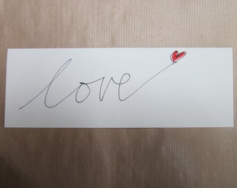 Love - red heart - card - handwritten - valentine - rotring art pen and ink