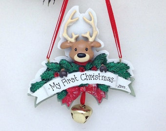 Reindeer Personalized Christmas Ornament / Reindeer Ornament with Christmas Bell / Baby's First Christmas / New Baby Ornament