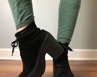Vintage 90s Platform Suede Booties Made in IT