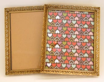 Vintage Picture Frames, 8x10 Photo Frames, Gold Filigree, Metal Wall Frames, With Glass