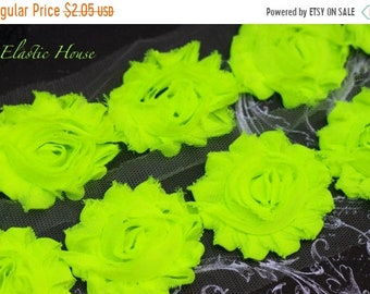 "SALE 30% OFF 2.5"" NEON Shabby Rose Trim - Lime Color - Neon Lime Shabby Rose Trim  Diy Headband/Hair Bow/Hair Clips Supplies"