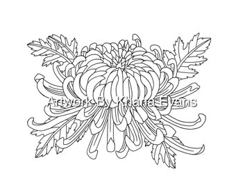 Japanese lotus flower tattoo design pdf a4 printout colouring chrysanthemum flower tattoo design pdf a4 printout colouring page sheet hand drawn pen colour art mightylinksfo Gallery