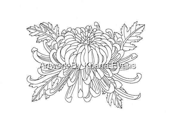 Chrysanthemum Flower Tattoo Design PDF A4 Printout Colouring